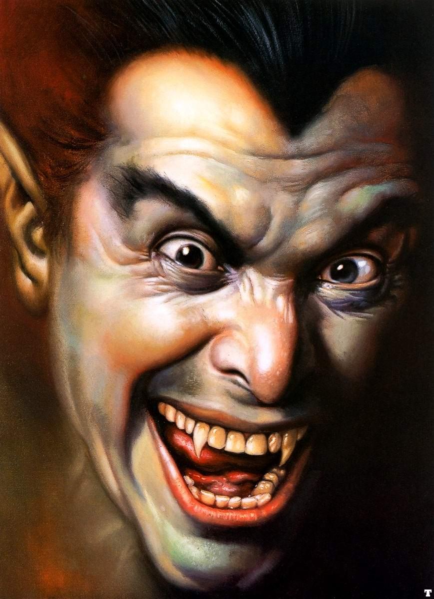 вампир, лицо, клыки, оскал, улыбка, скачать фото, обои для рабочего стола