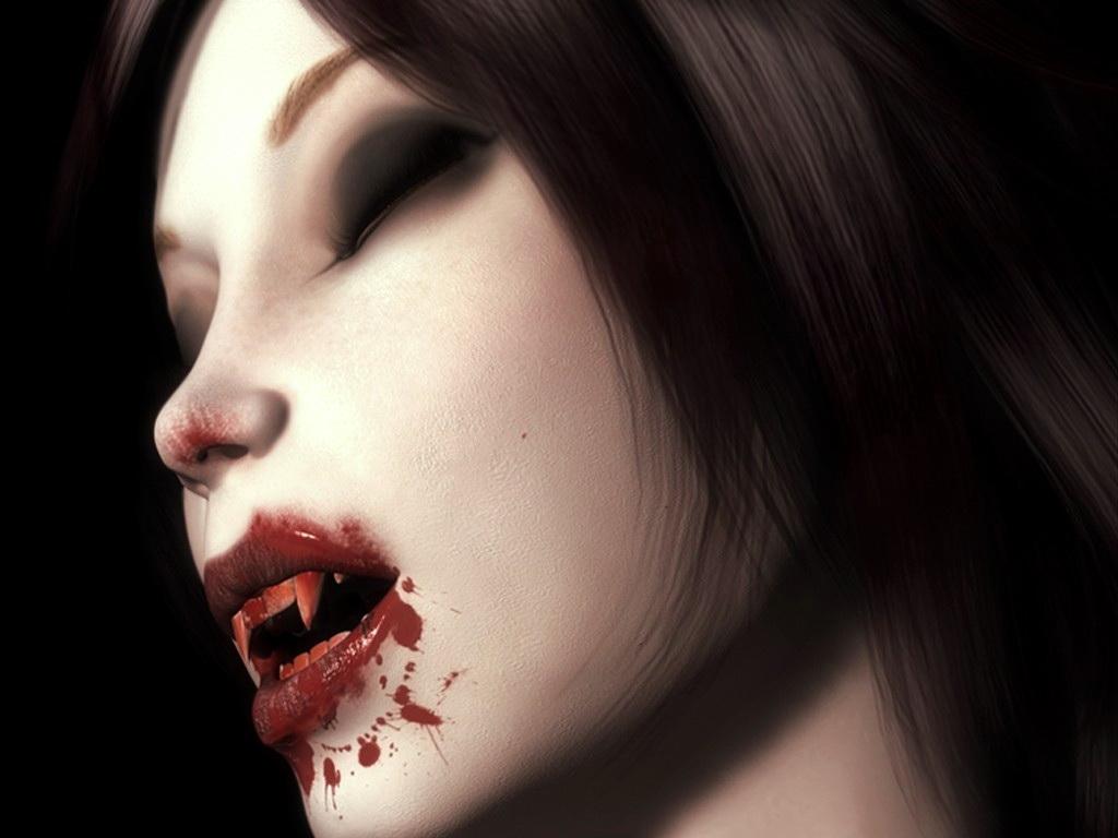девушка вампри, пьет кровь, рисунок, скачать фото обои на рабочий стол