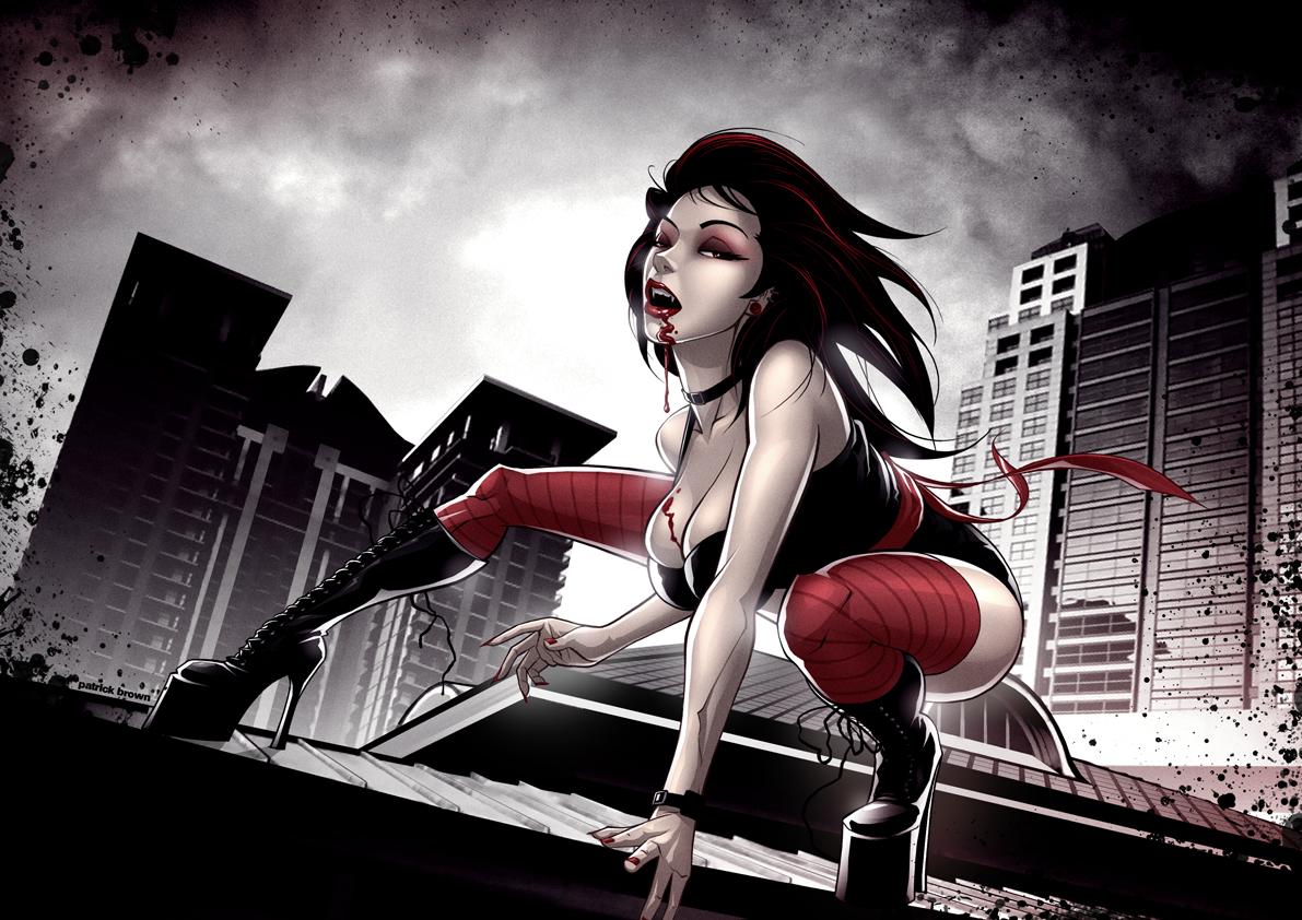 рисунок, девушка вампри на крыше, скачать бесплатно, обои для рабочего стола