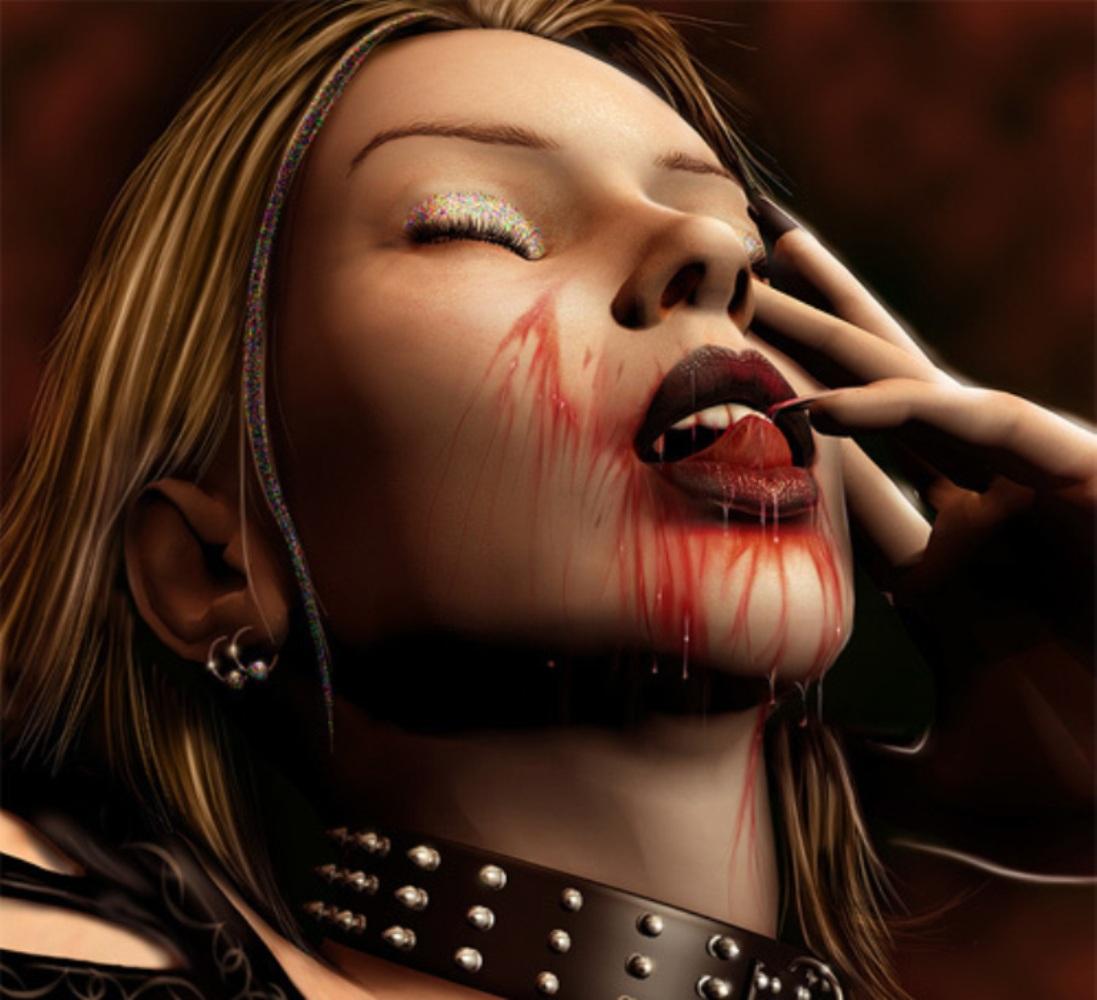 Девушка вампирша пьет кровь, скачать фото, обои для рабочего стола