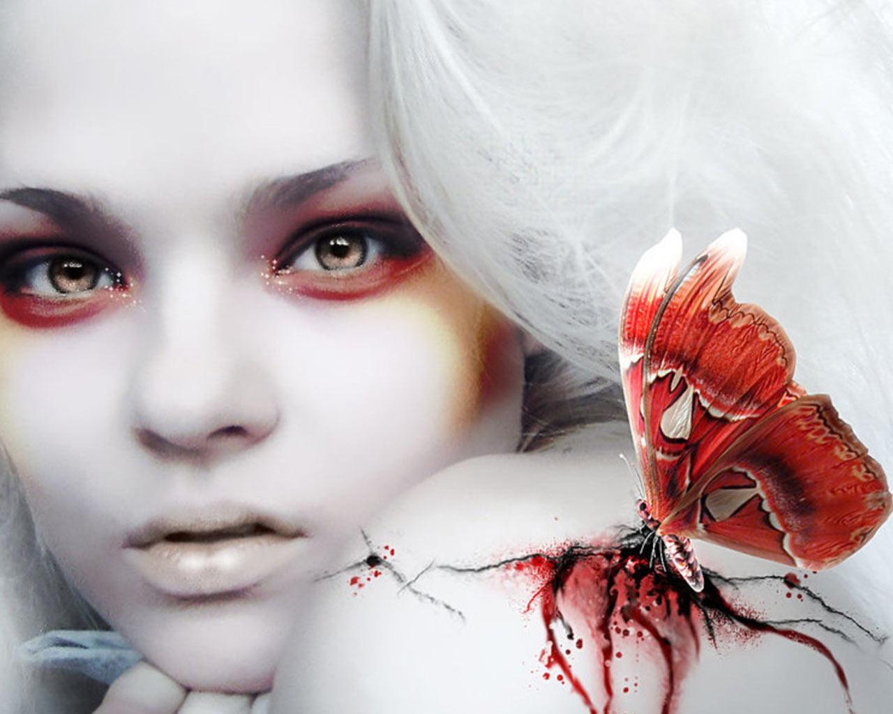 девушка вампир, бабочка пьет кровь, скачать фото, обои для рабочего стола