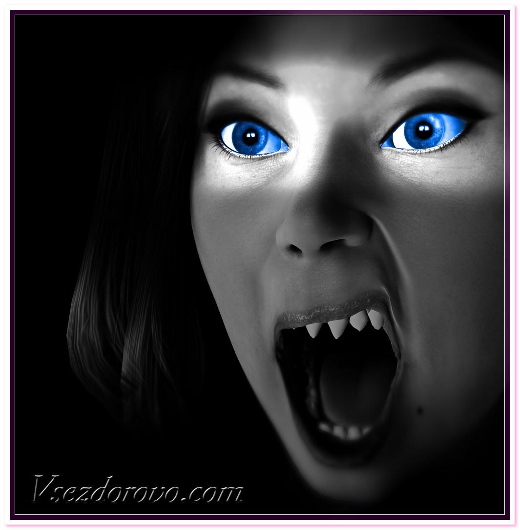 Девушка вампир, синие глаза, скачать фото, обои для рабочего стола