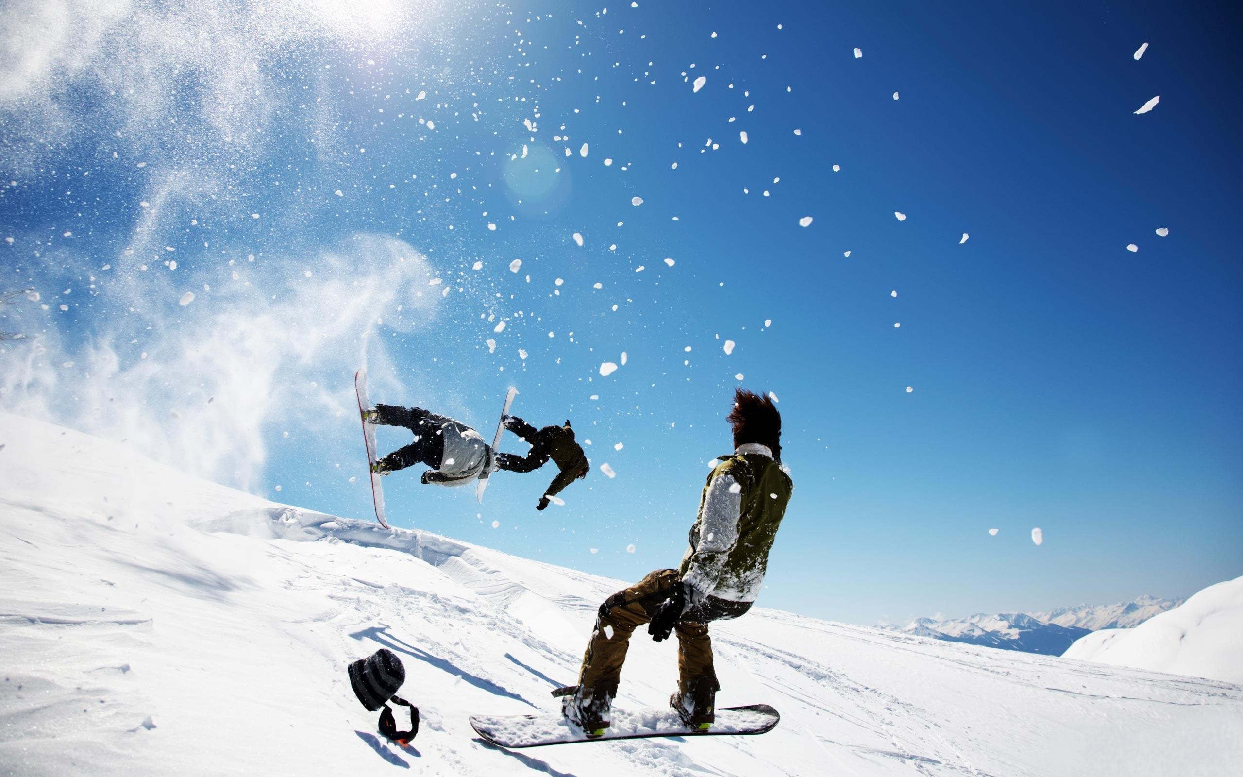 сноубордисты, снег, скачать фото, обои на рабочий стол, snowboard wallpaper