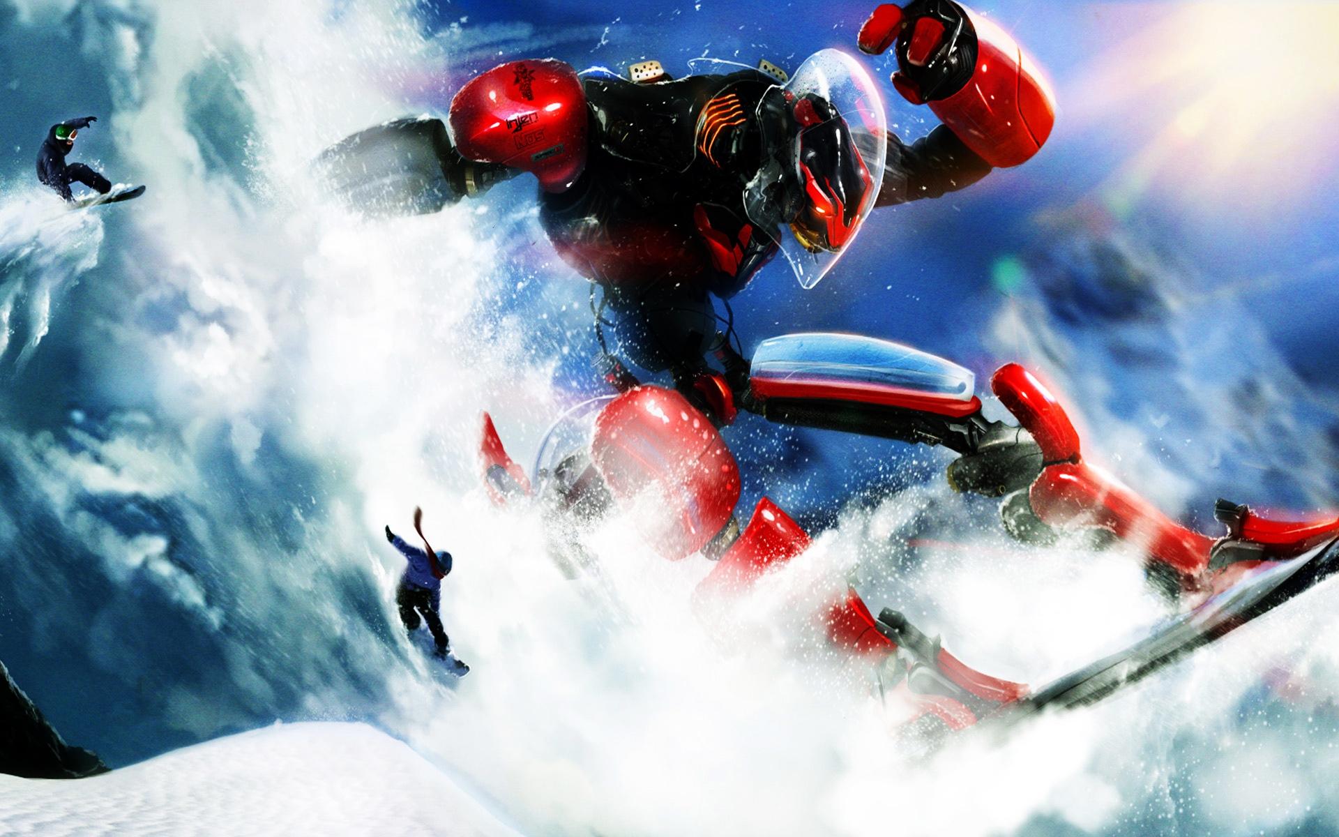 сноубордист робот, скачать фото, обои для рабочего стола, snowboard wallpaper