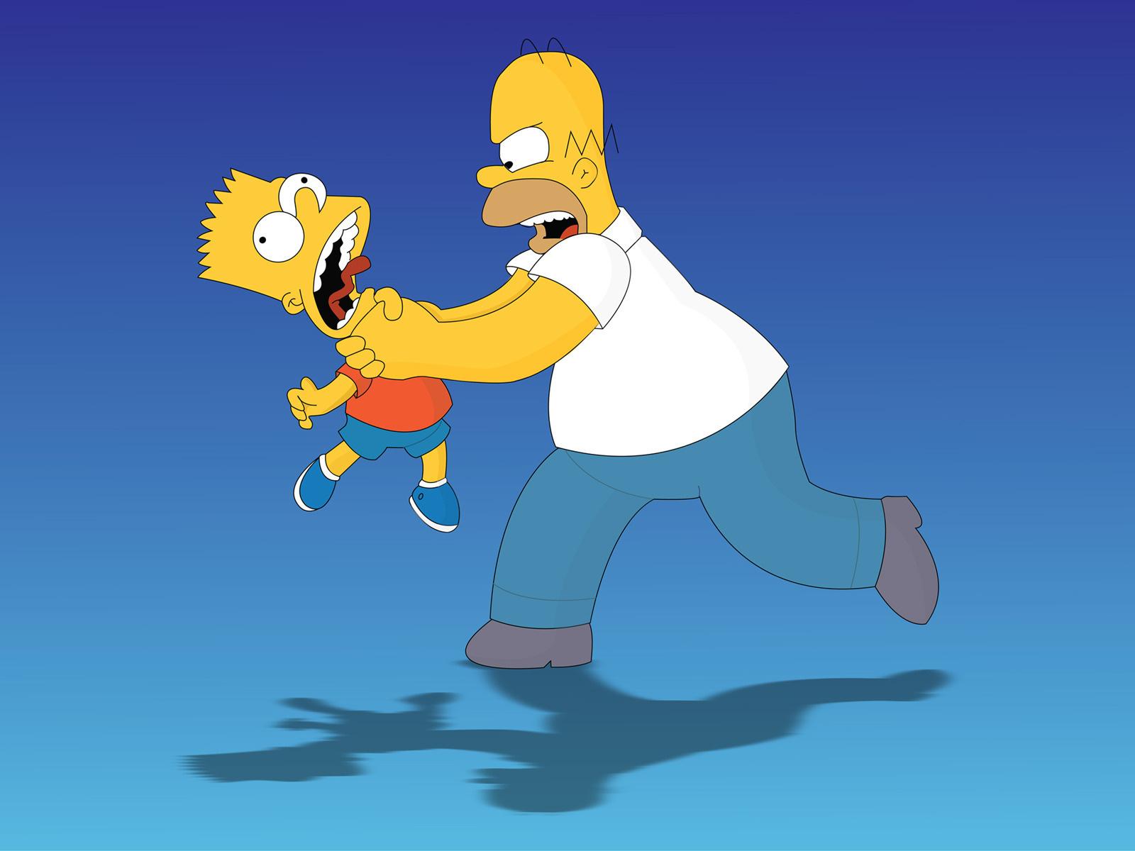 Homer Simpson, Гомер Симпсон душит Барта, Simpsons, wallpapers, обои для рабочего стола, Симпсоны, скачать фото