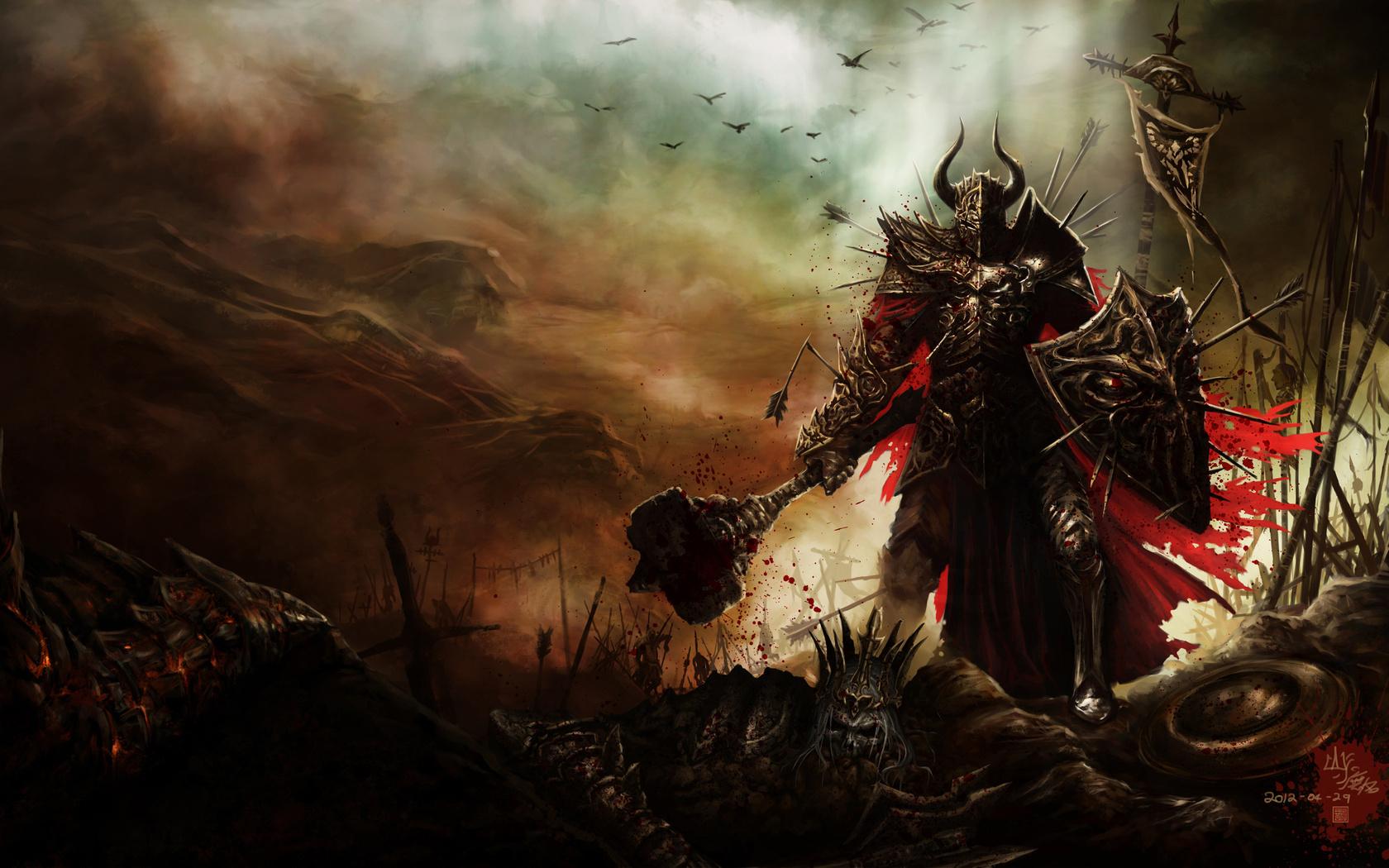 рыцарь на поле боя, рисунок, скачать обои для рабочего стола