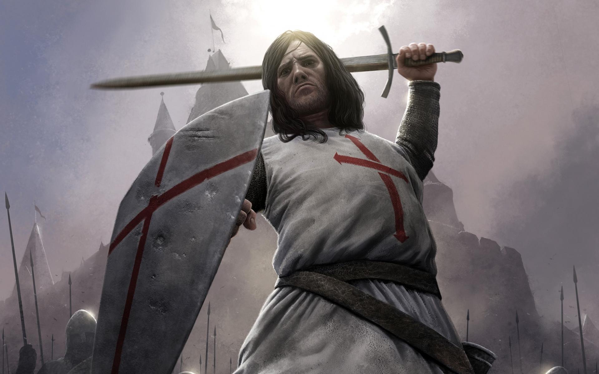 knight, рыцарь крестоносец в бою, доспехи, меч, щит