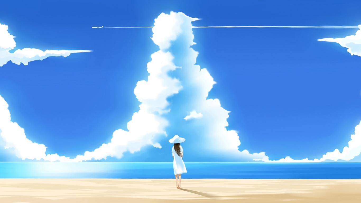 Фото девушка на пляже и облака