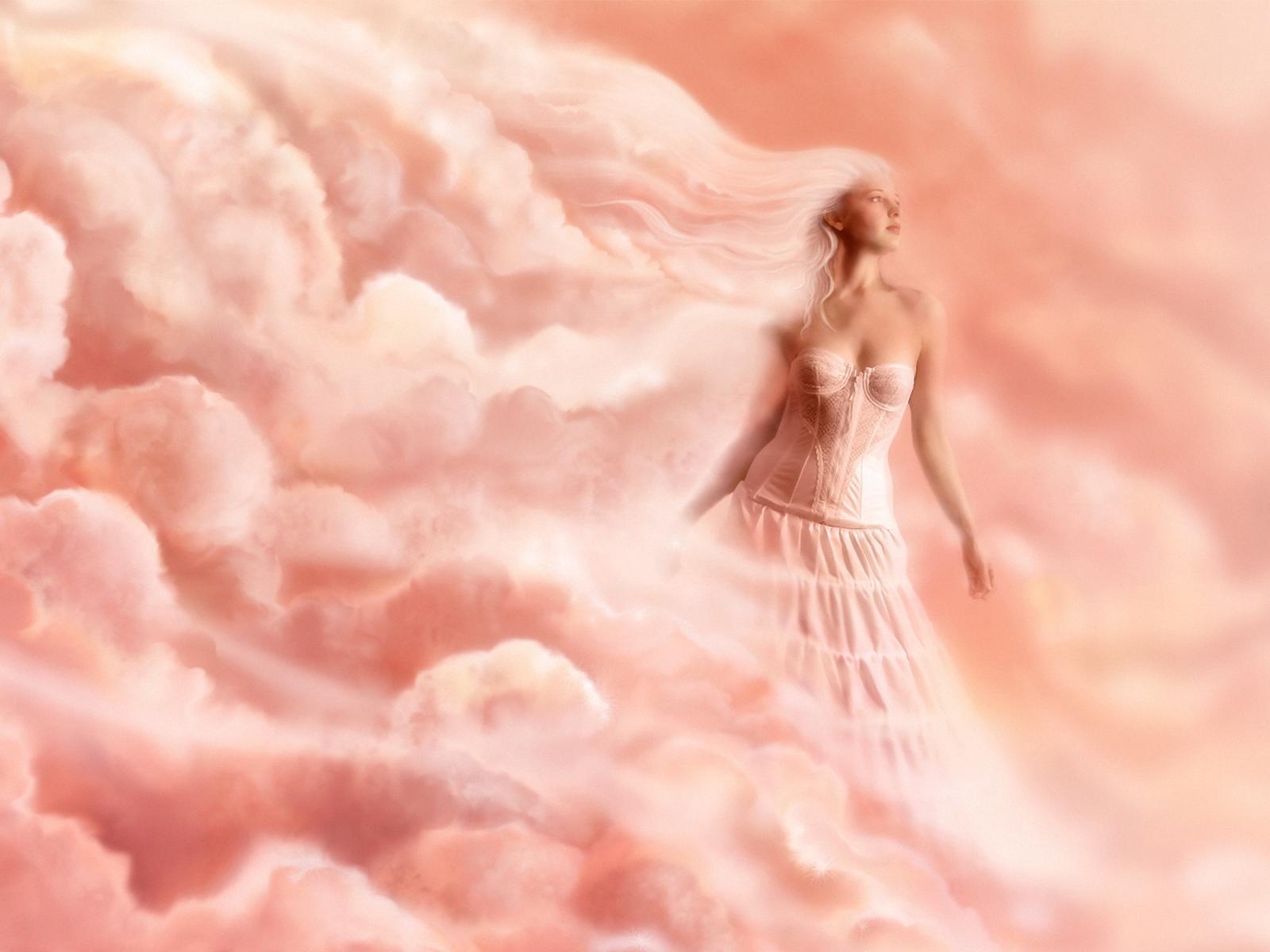 женщина в облаках, обои для рабочего стола, розовые облака