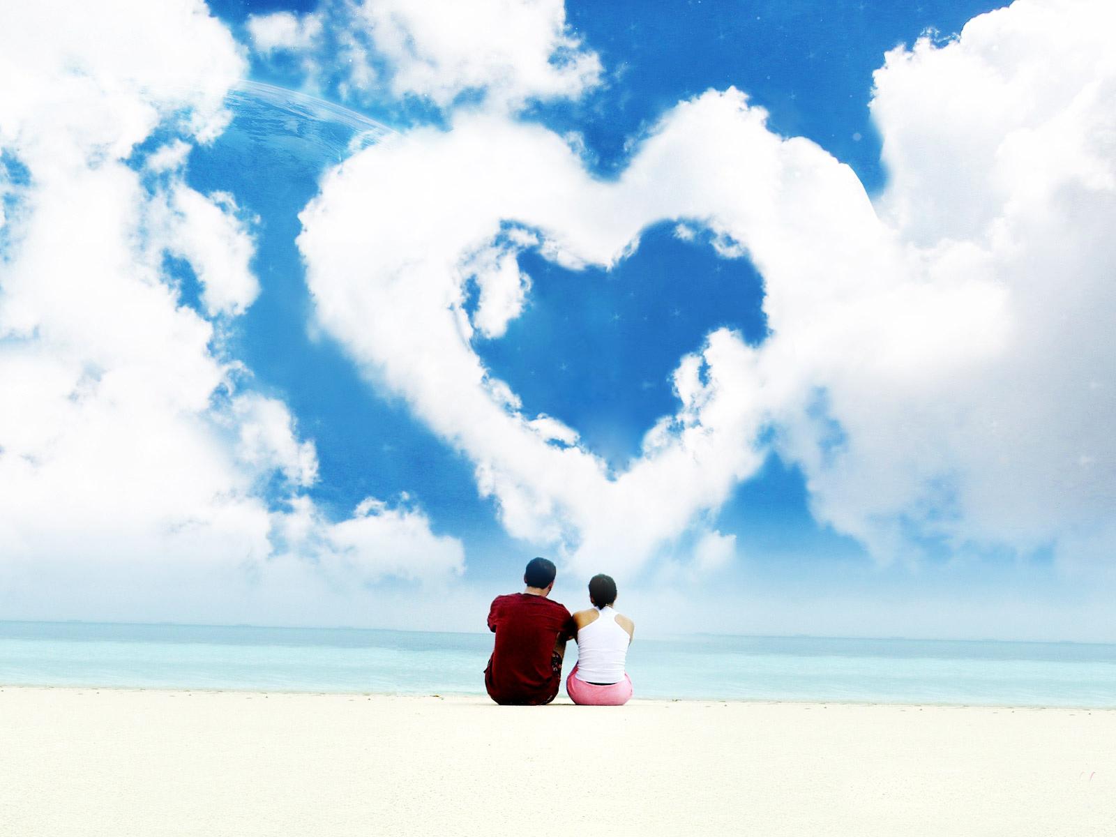 облака в форме сердца, обои для рабочего стола, влюбленные, скачать