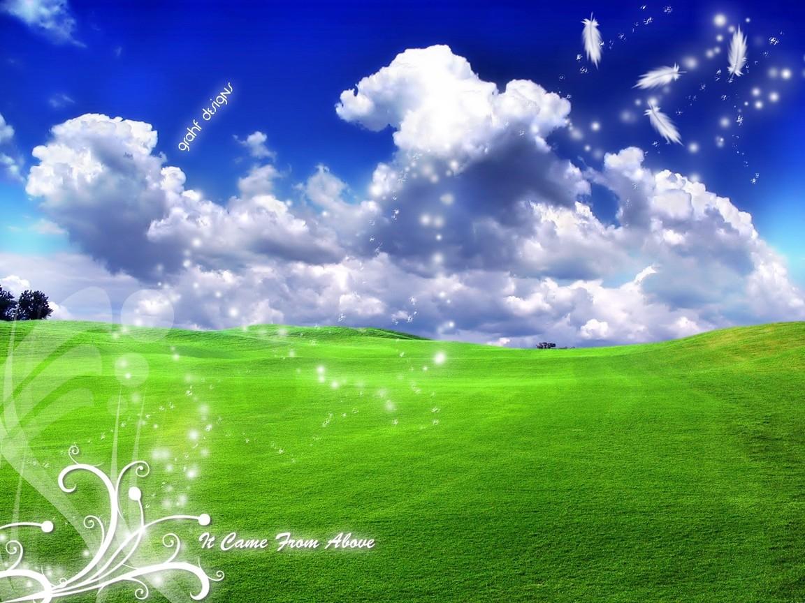 Трава небо облака скачать фото обои