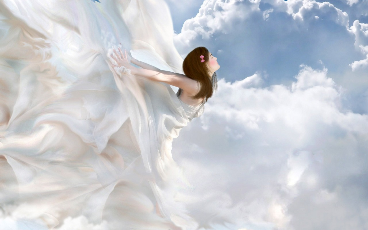 девушка в облаках, небо, облака, скачать обои