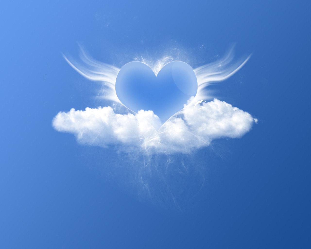 сердце в облаках, скачать фото, обои на рабочий стол, облако в форме сердца