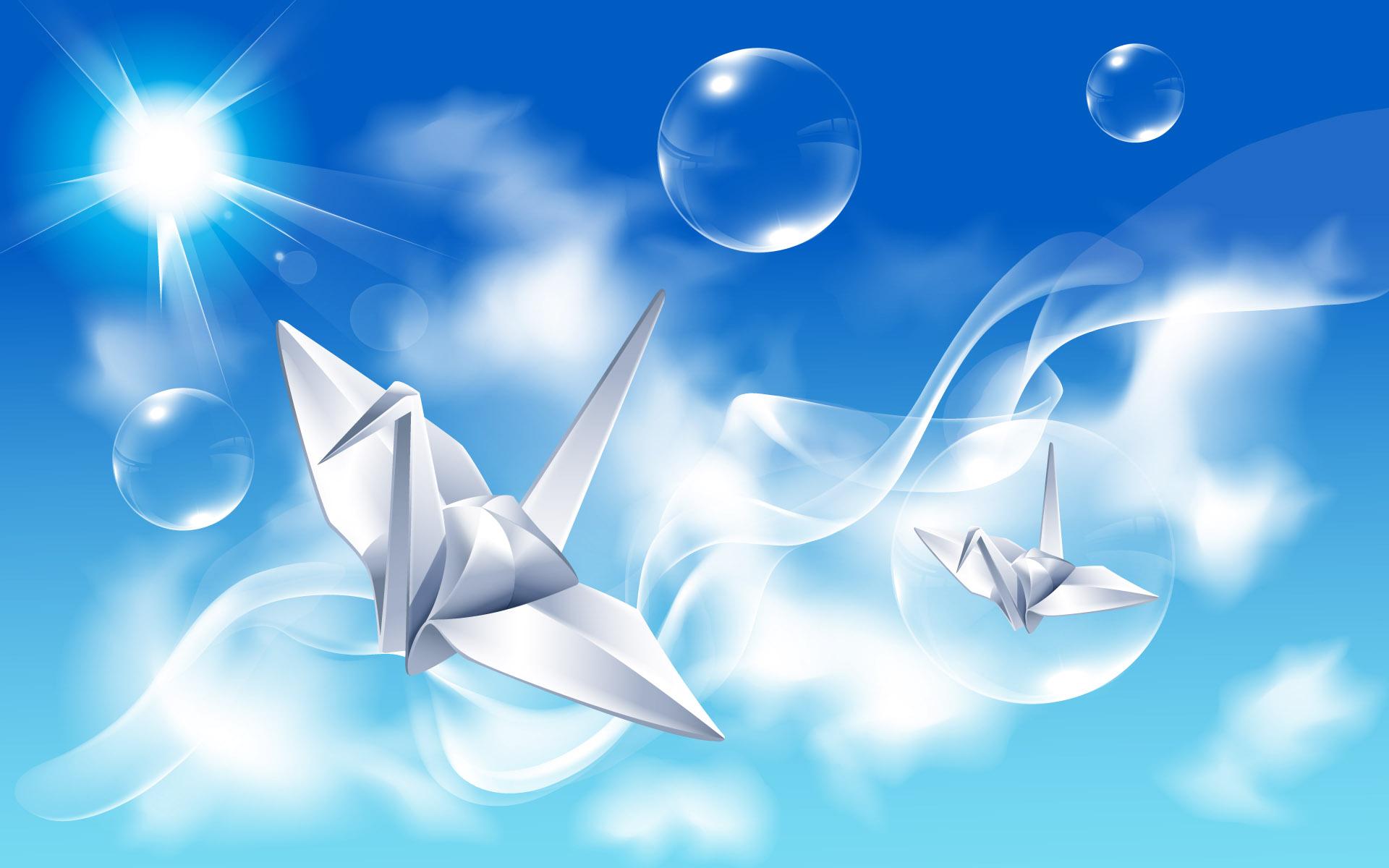 бумажные журавли, фото, скачать обои для рабочего стола, небо и облака