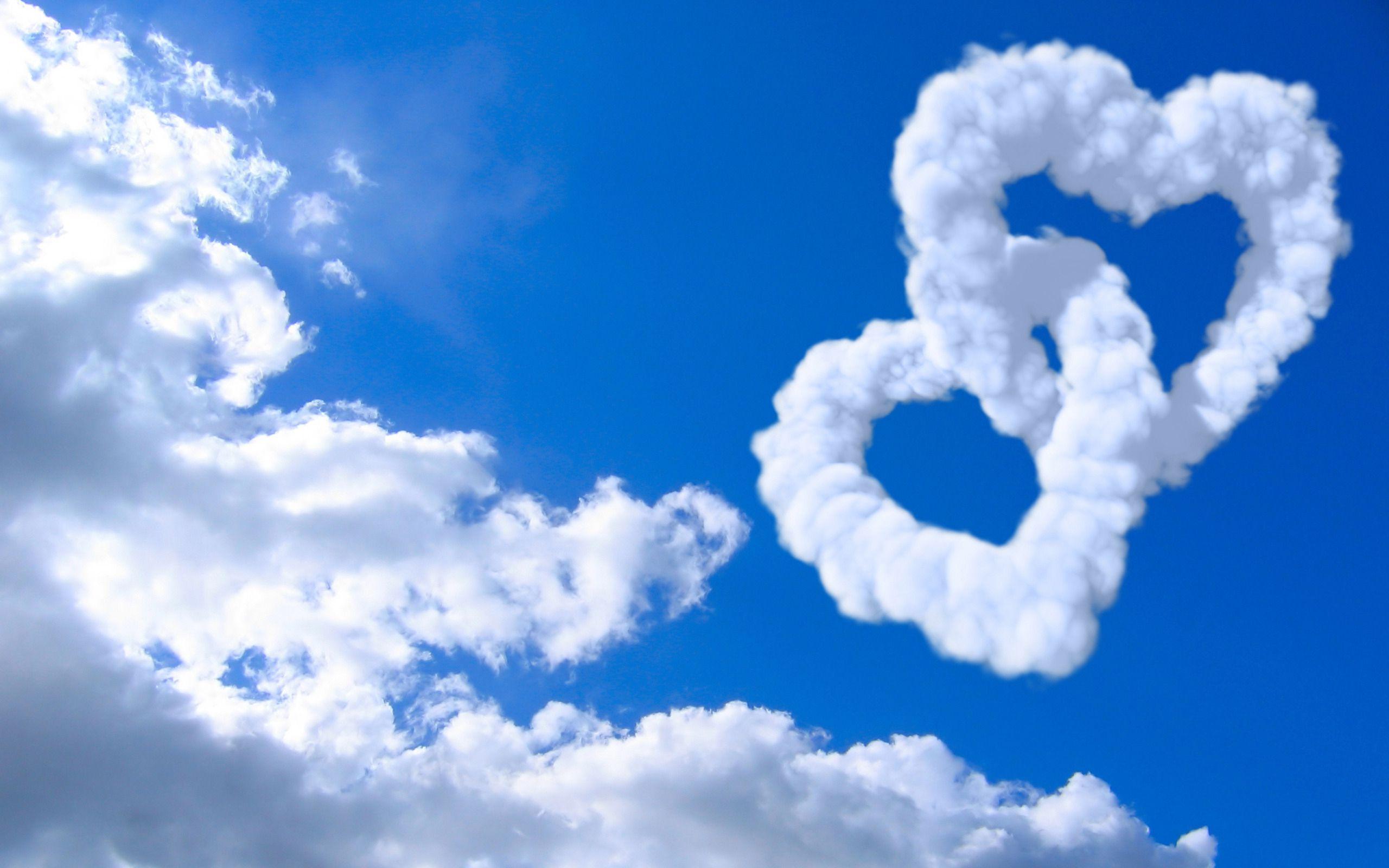 облака в форме сердец, скачать фото, обои для рабочего стола, sky wallpaper