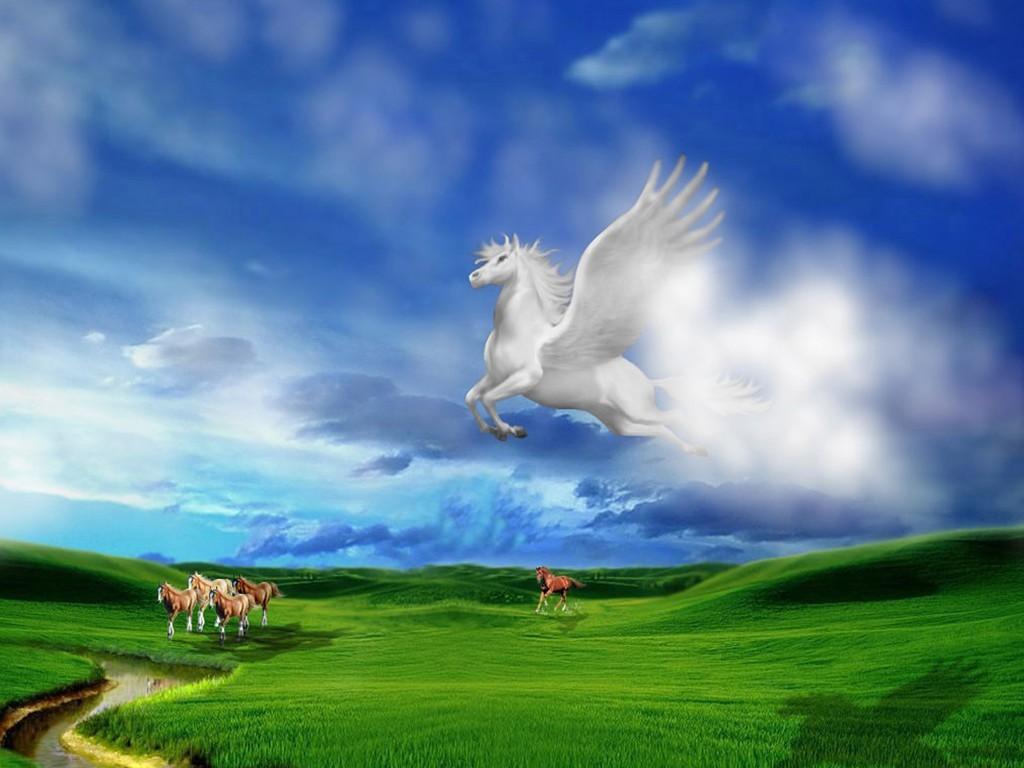 Пегас, небо, скачать обои для рабочего стола, wallpaper, sky, облака