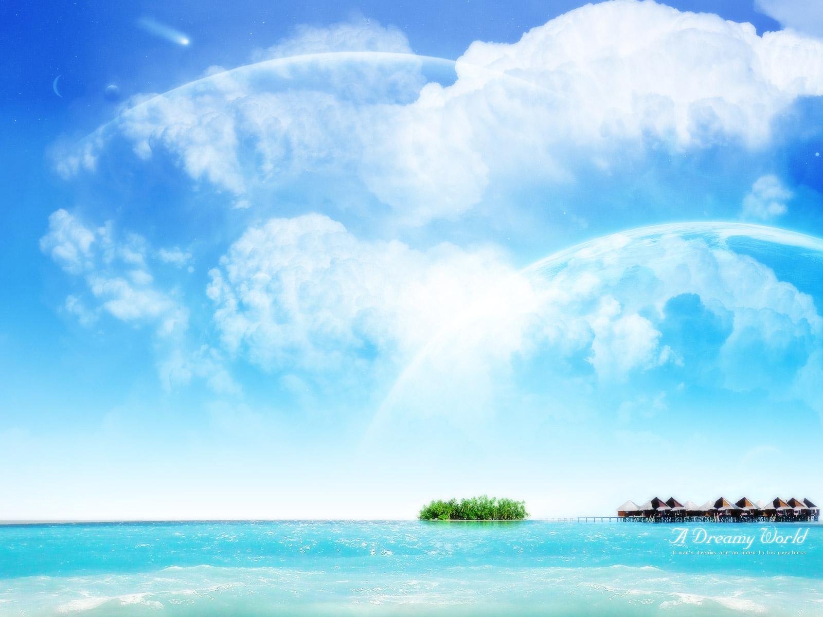 море, легкие перистые облака, скачать фото, обои для рабочего стола