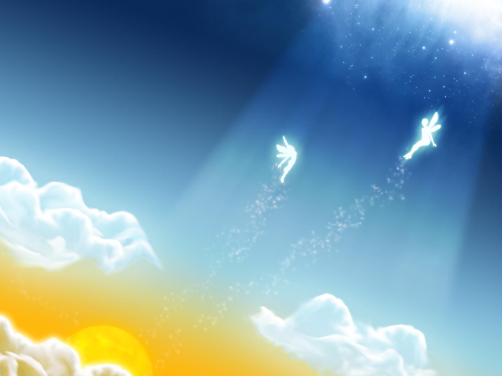небо, две феи летят, скачать фото, обои для рабочего стола, облака