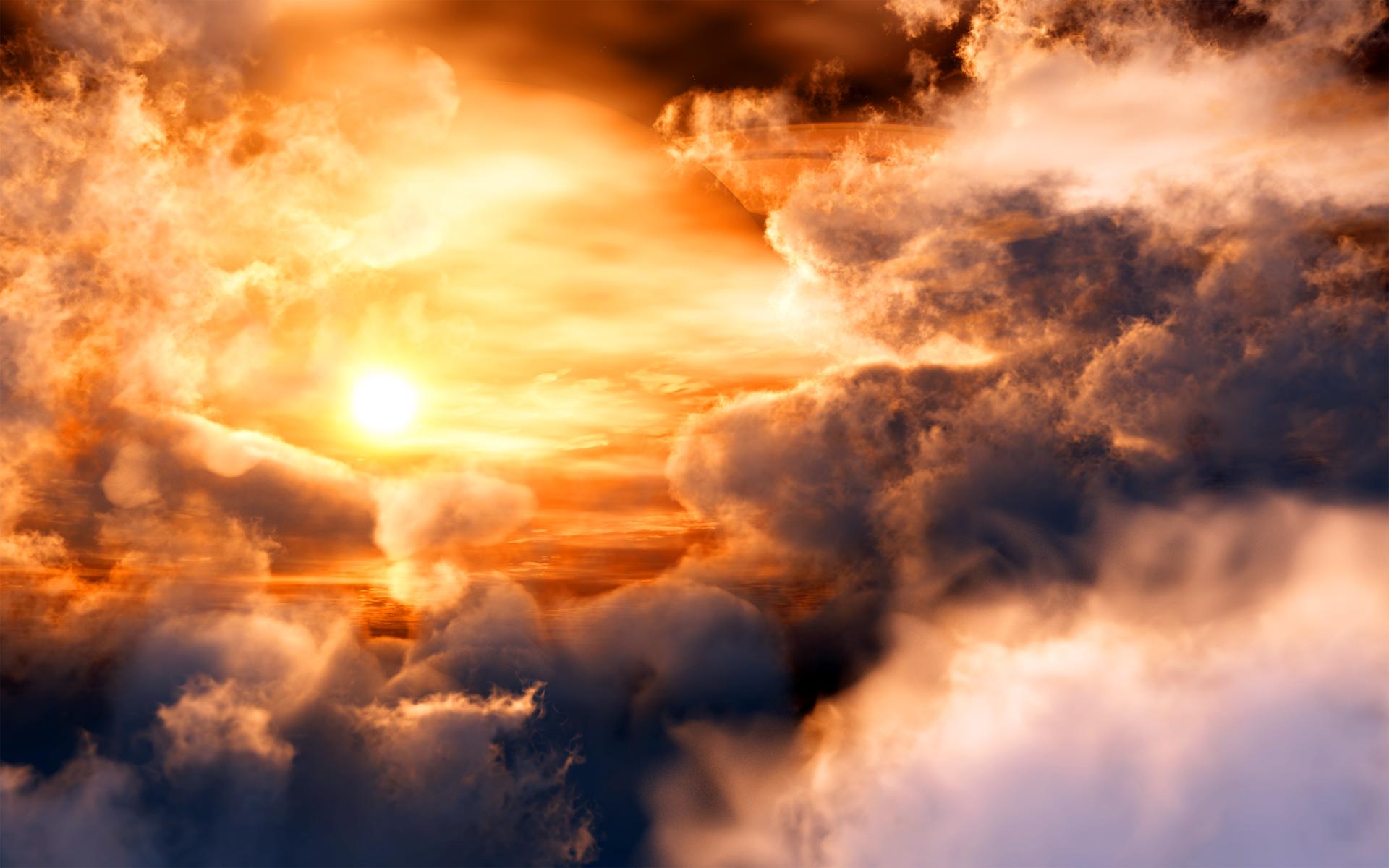 солнце в тучах, скачать обои для рабочего стола, фото, облака
