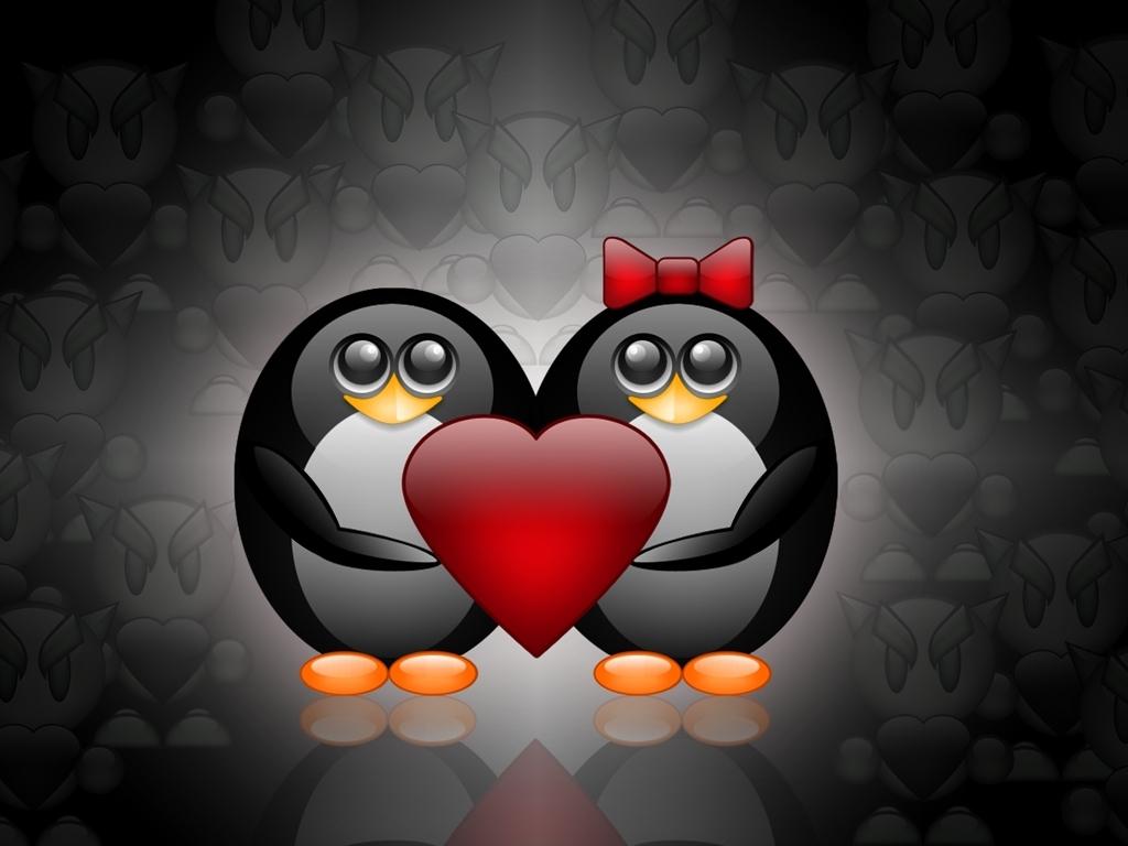 пара пингвинов с сердцем, Любовь, скачать фото, обои для рабочего стола