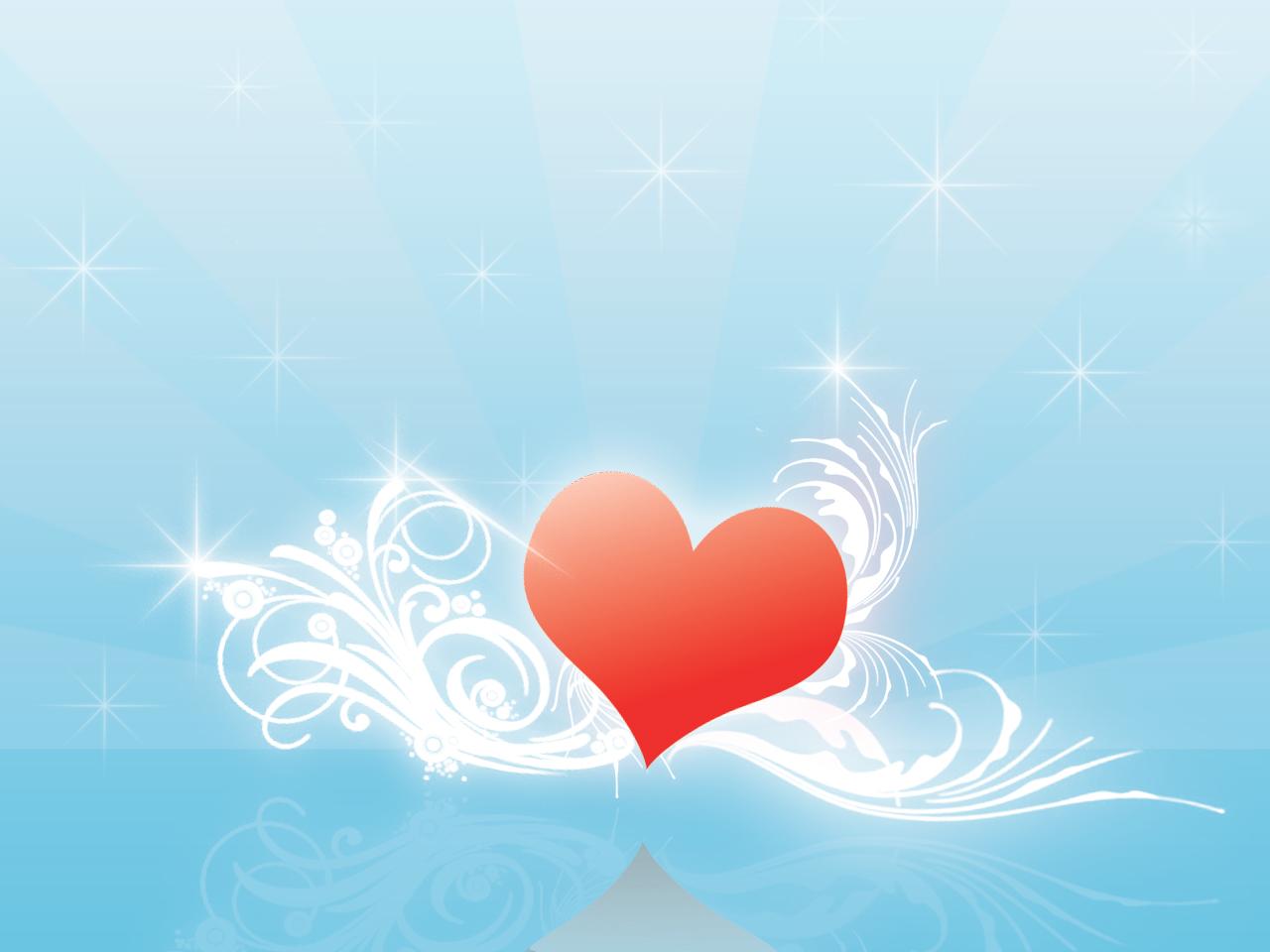 сердце на голубом фоне, скачать фото, обои для рабочего стола