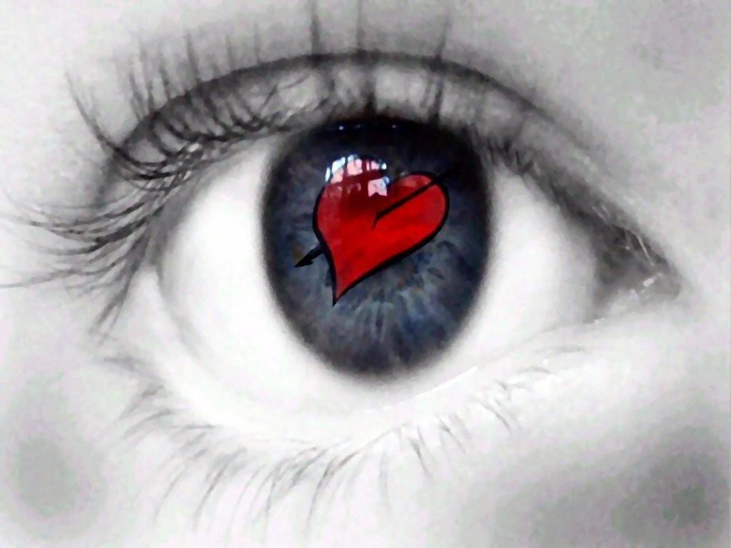 сердце в зрачке глаза, фото, скачать, обои на рабочий стол