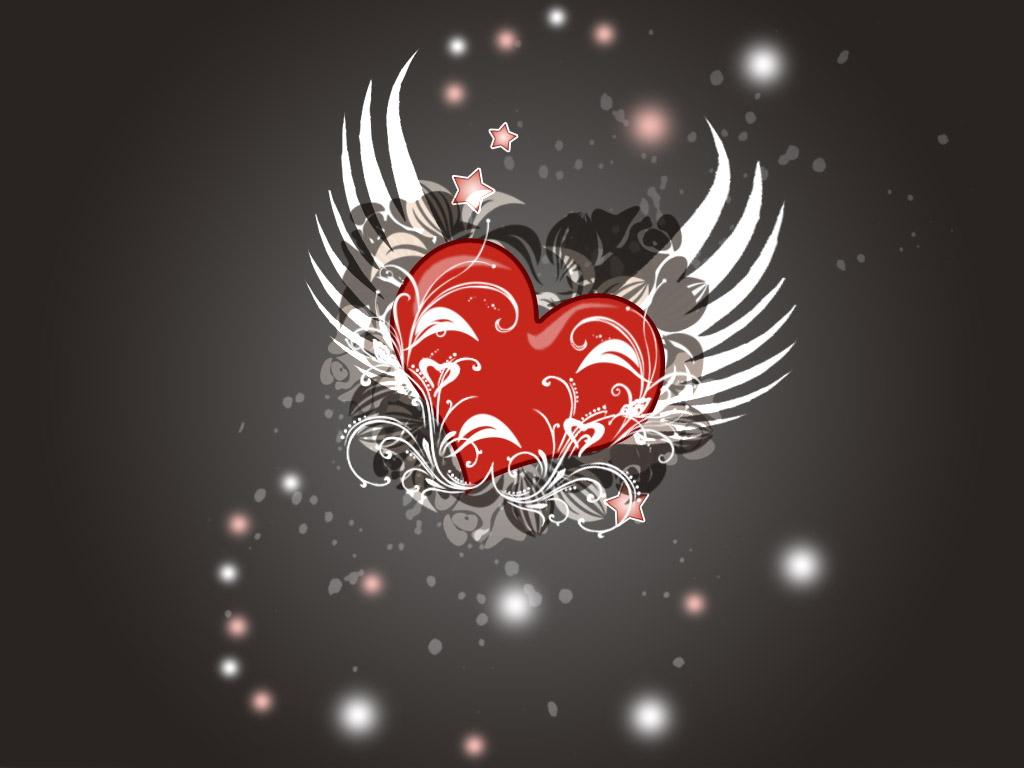 сердце с крыльями, скачать фото, обои для рабочего стола, heart wallpaper