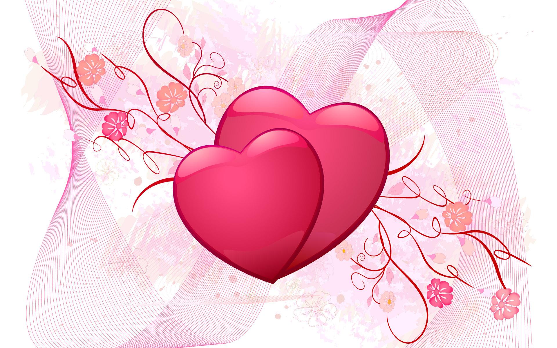 hearts wallpaper, LOVE, любовь, два сердца, скачать