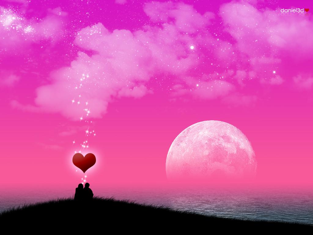 Love, вечер, двое под лучной, закат, сердце, влюбленные