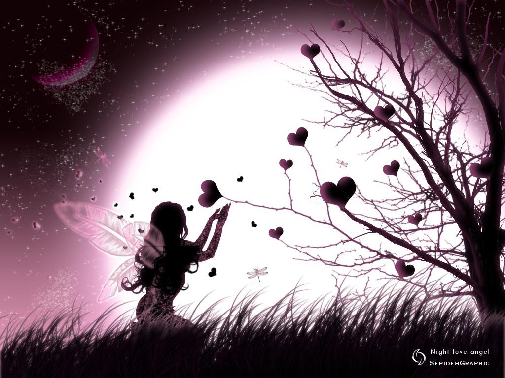 любовь, девушка, луна, ночь, love