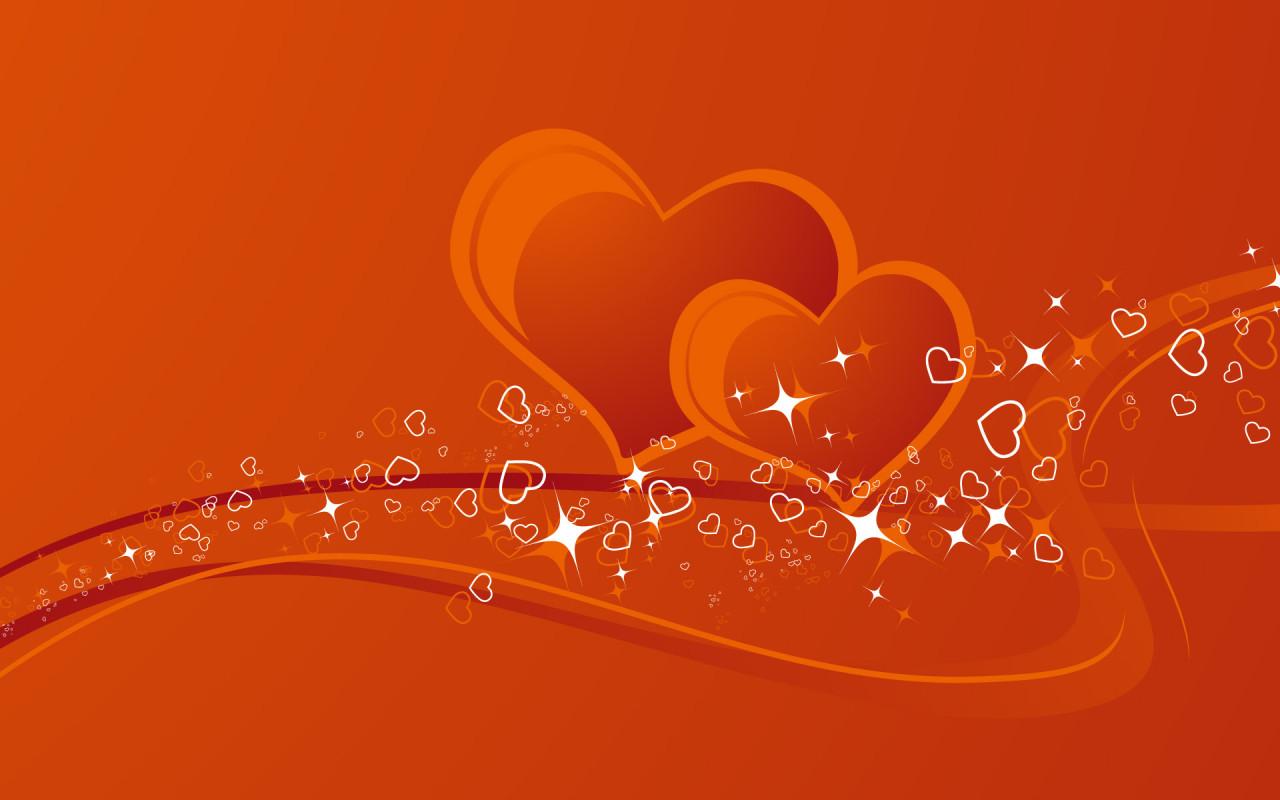 два сердца вместе, скачать фото, оранжевые обои для рабочего стола