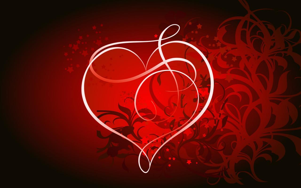 красные обои на рабочий стол, скачать фото, сердце