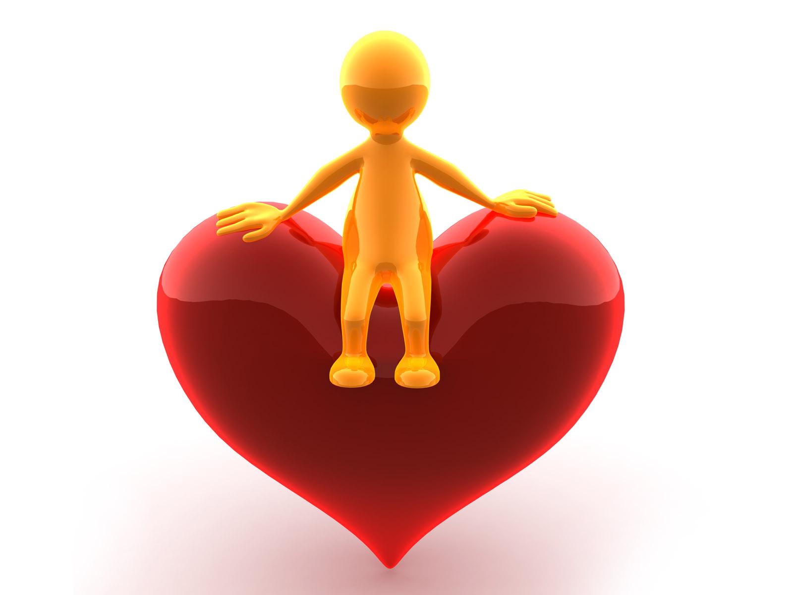 человечек сидит на сердце, скачать фото, обои для рабочего стола, heart wallpaper