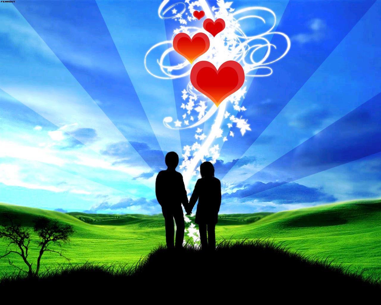 влюбленная пара, скачать фото, обои на рабочий стол, сердца