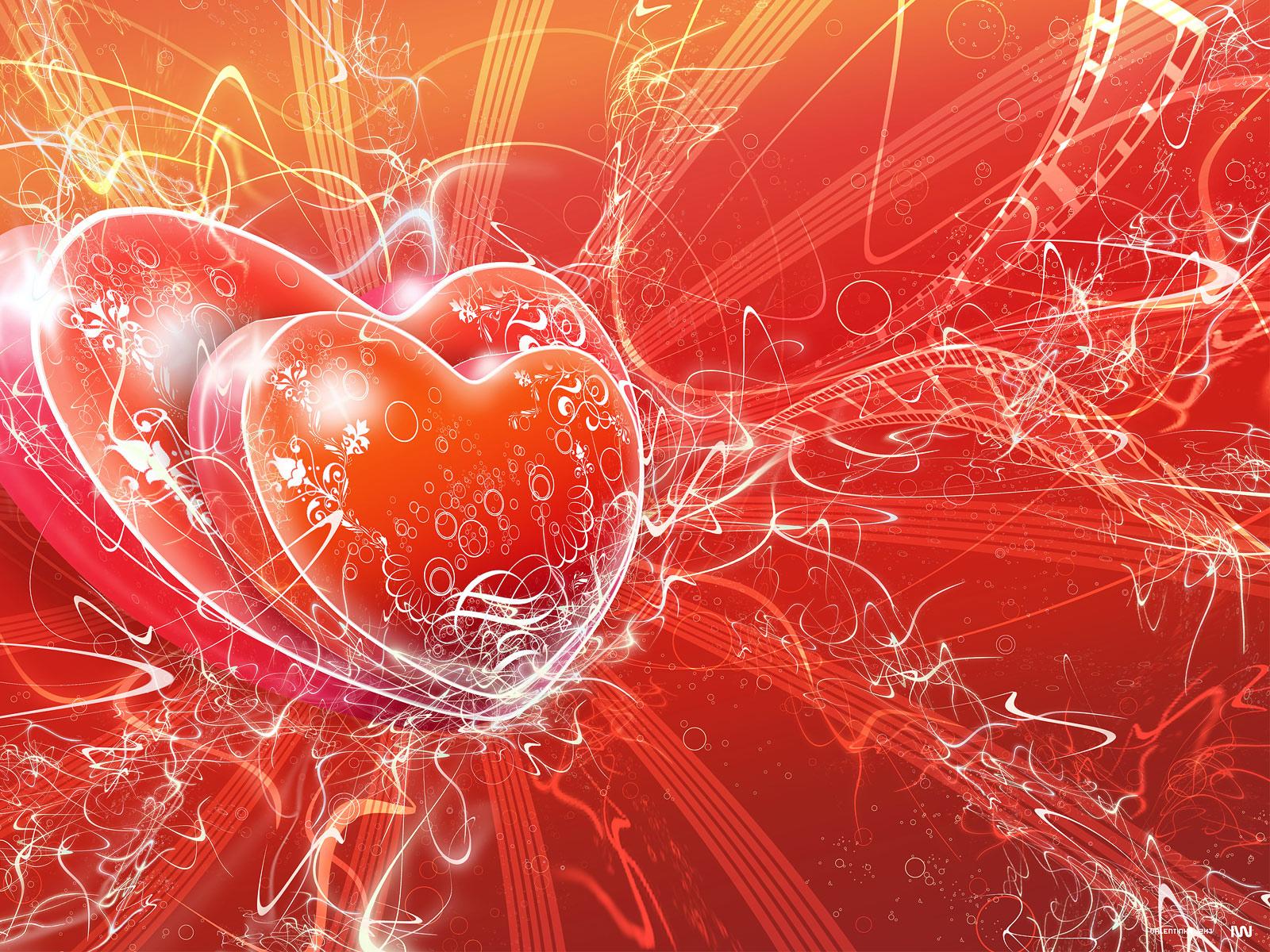 сердца, красные обои для рабочего стола