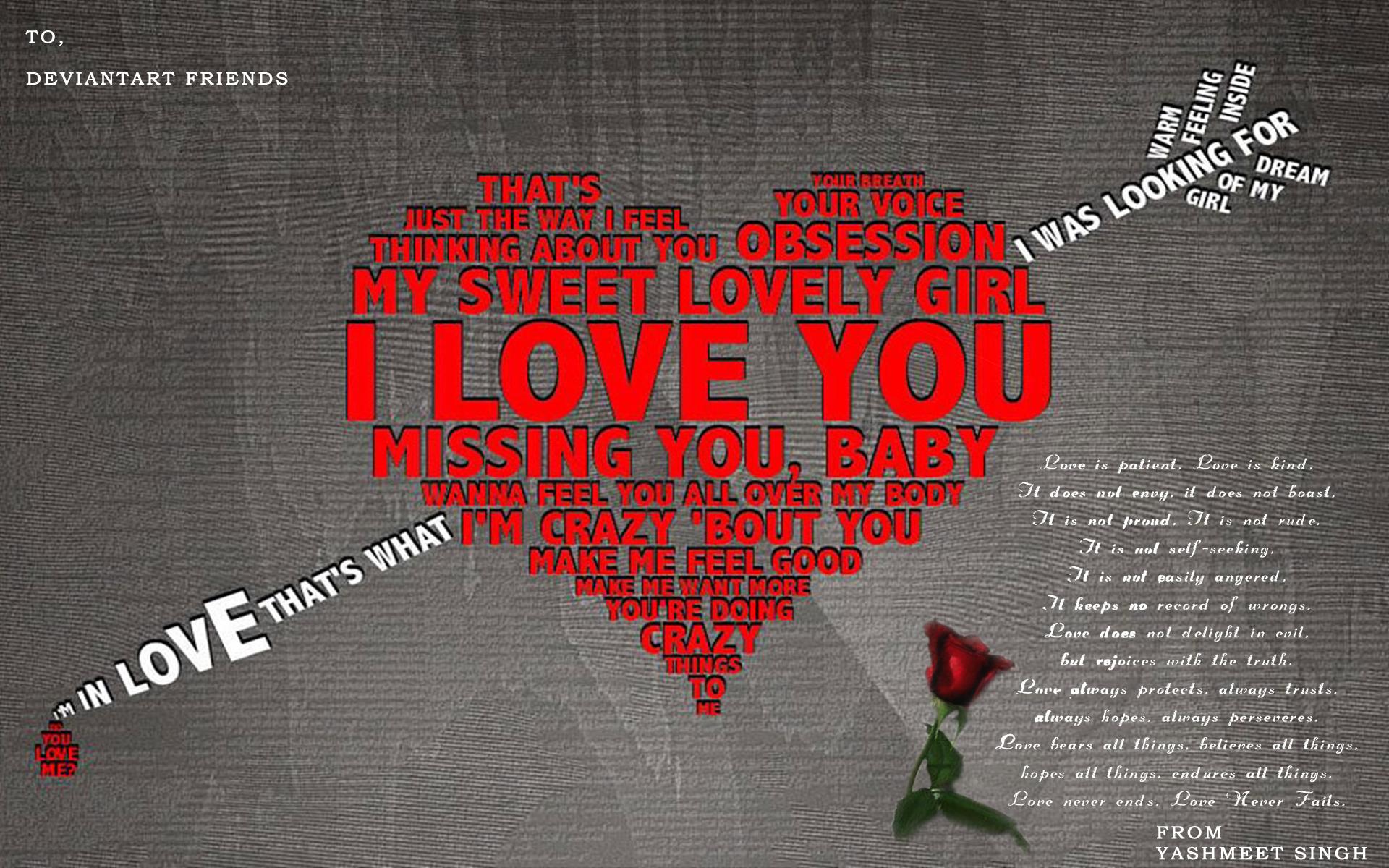 I love you, heart, сурдце из слов - Я люблю тебя, проткнутое стрелой, скачать фото, обои для рабочего стола