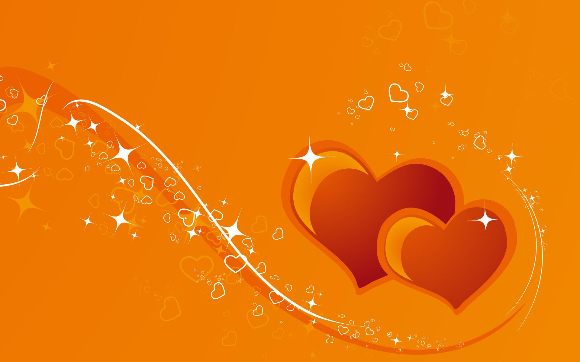 оранжевые сердца, обои на рабочий стол