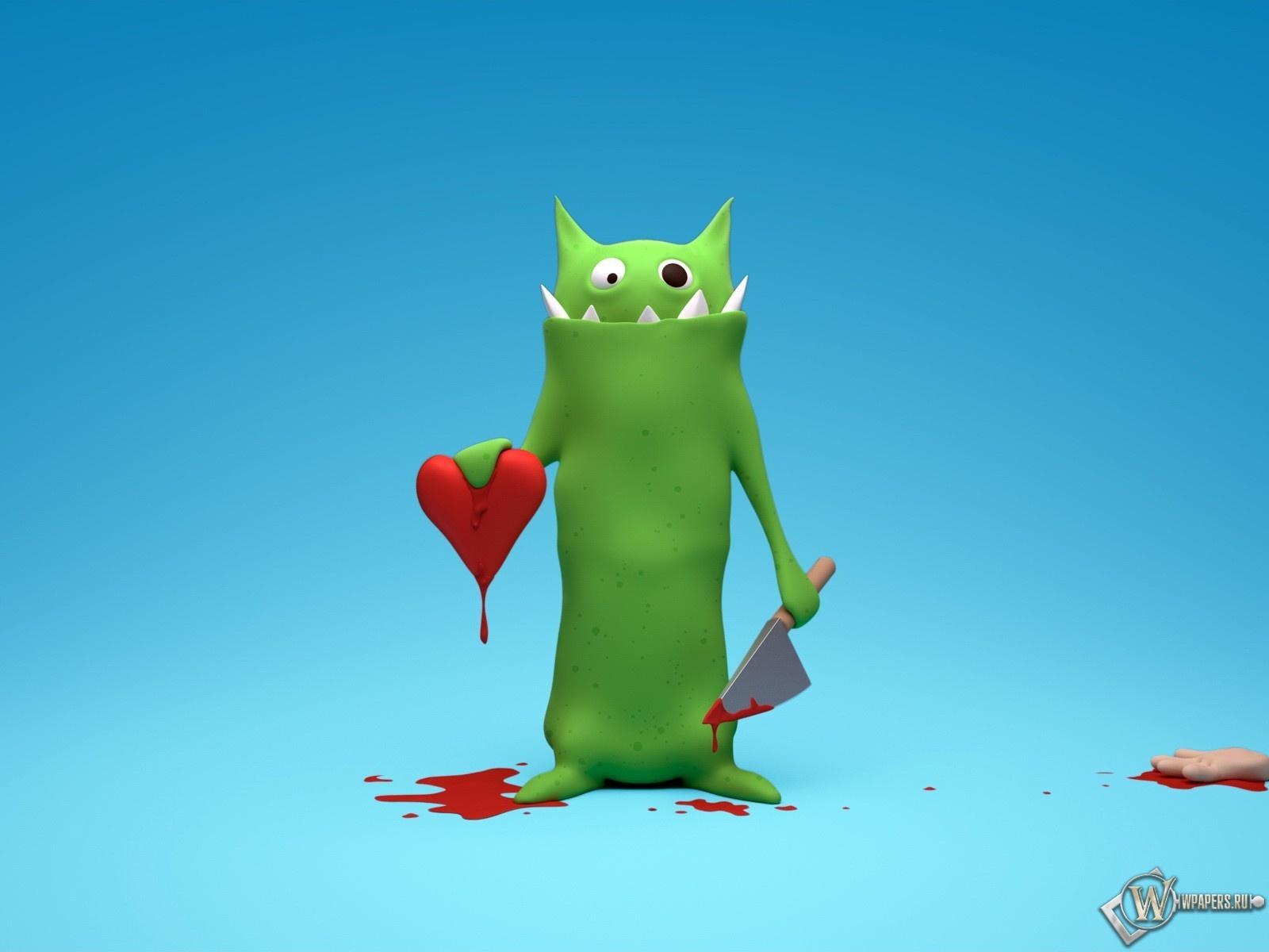 чудовище зеленое, инопланетянин с сердцем и ножом, рисунок, обои для рабочего стола