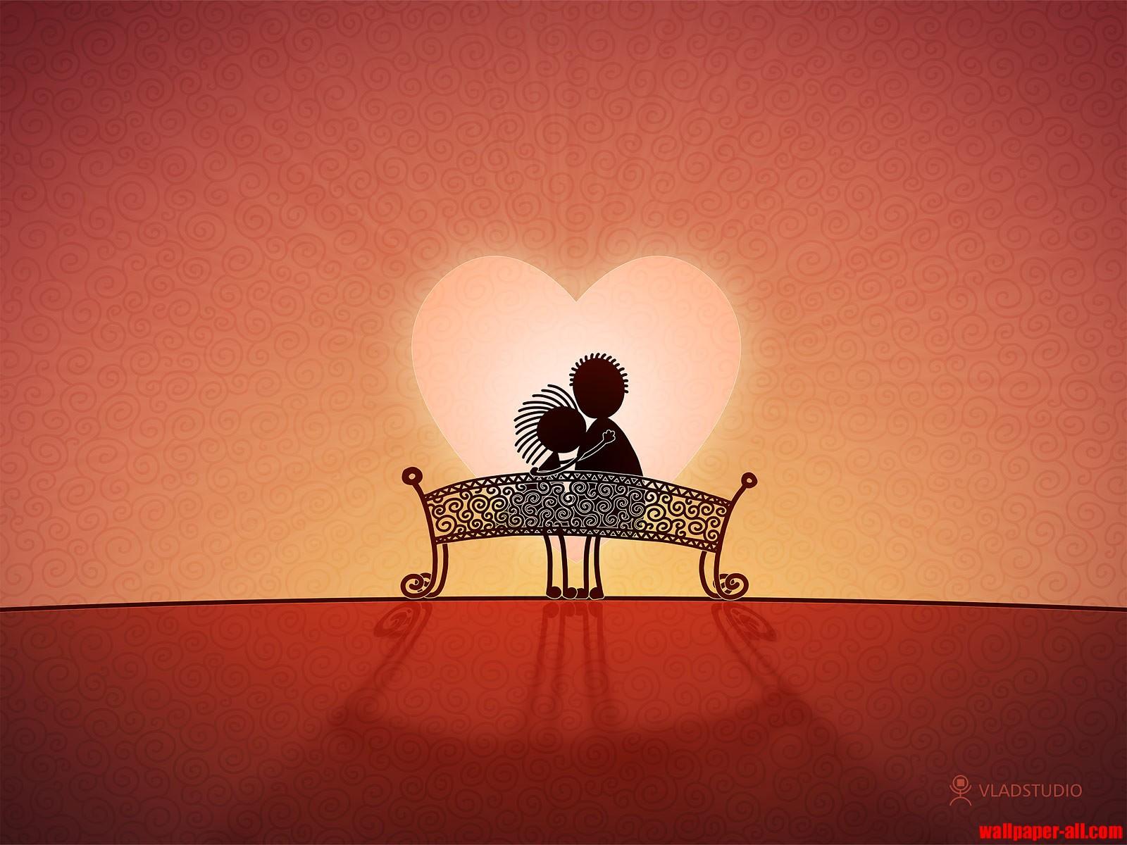 влюбленная парочка на скамейке на фоне сердца, скачать фото, обои для рабочего стола