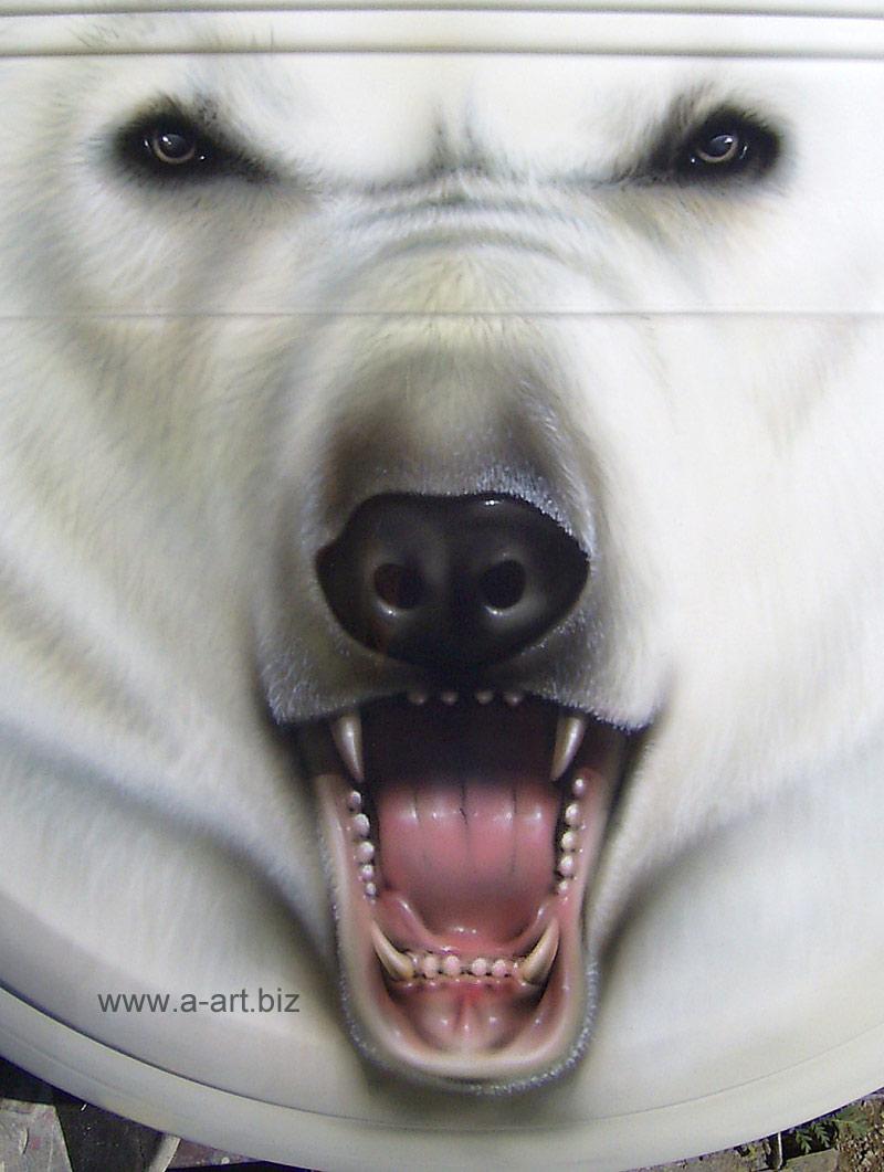 рисунок, белый медведь, скачать, оскал, фото, обои для рабочего стола