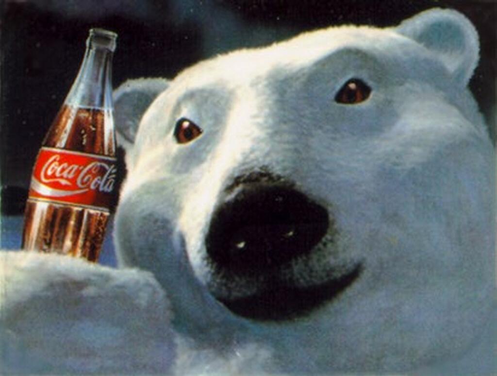 white polar bear, coca cola wallpaper, скачать фото, обои для рабочего стола