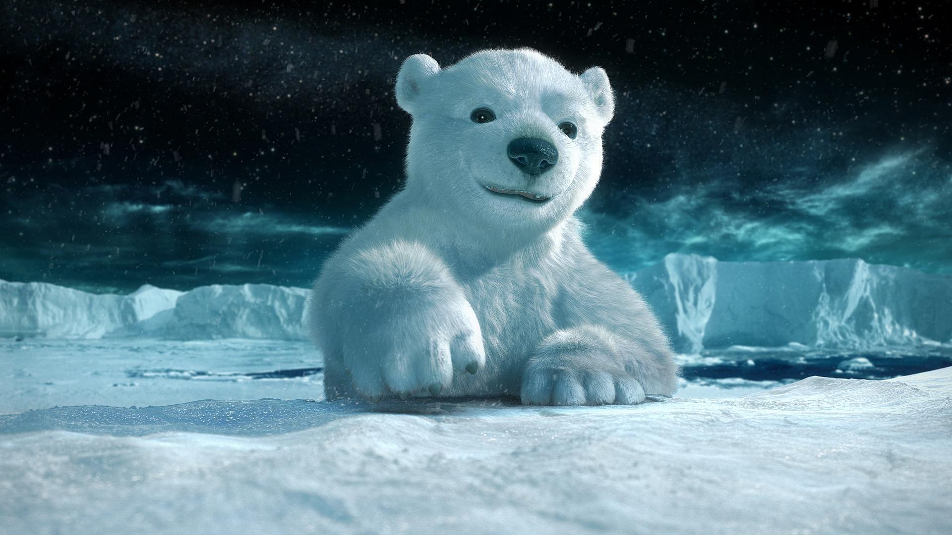 white bear polar, белый медвежонок, лезет на льдину, фото, обои на рабочий стол