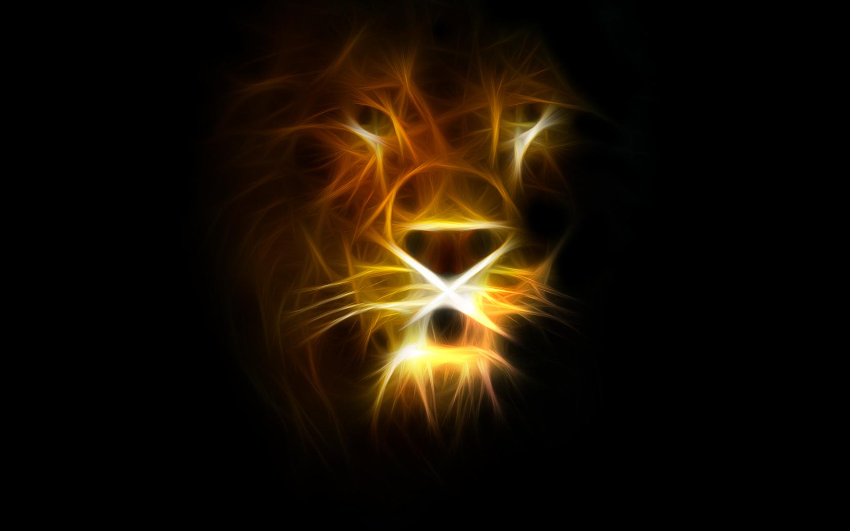 светящийся лев, обои на рабочий стол, lion