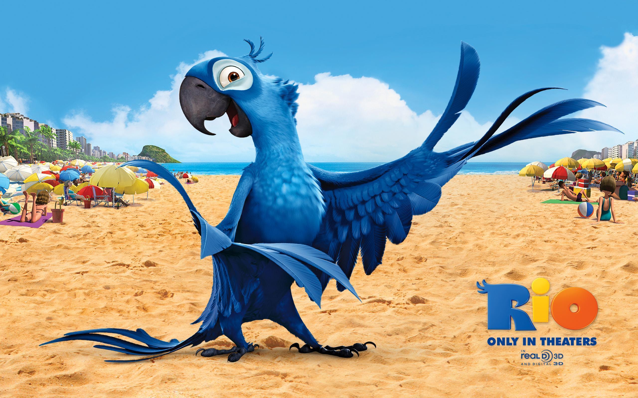 мультяшный синий попугай, скачать фото