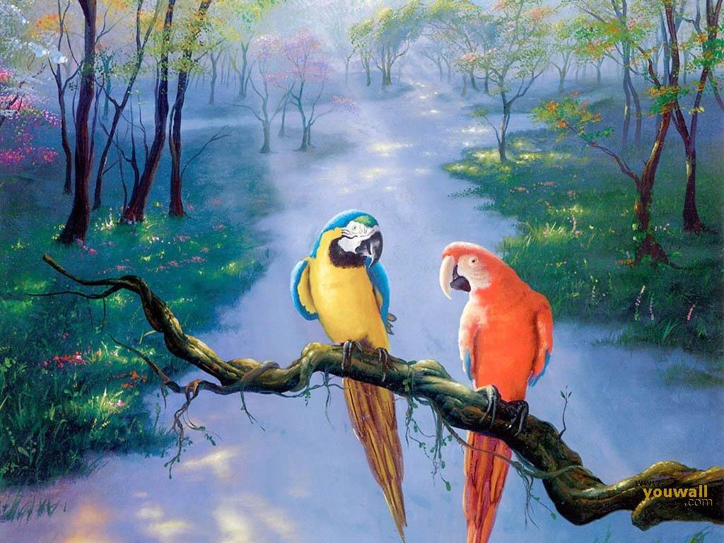 два попугая сидят на ветке, скачать фото