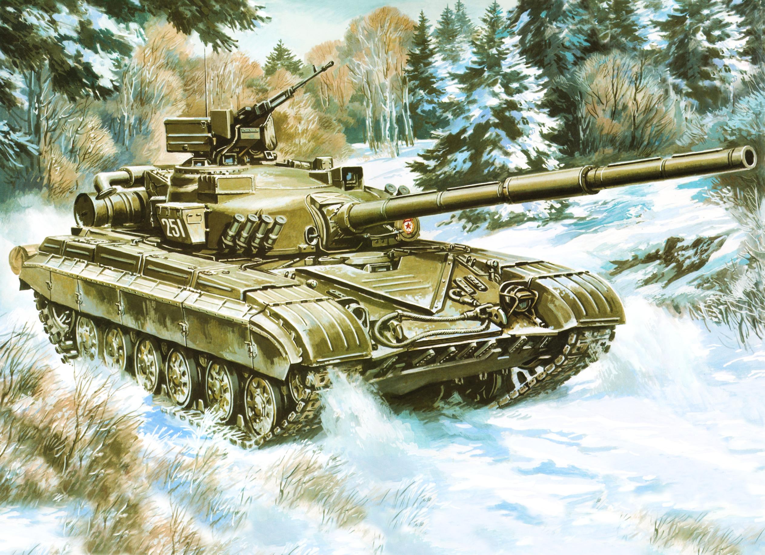 советский танк зимой, снег, скачат фото, танки