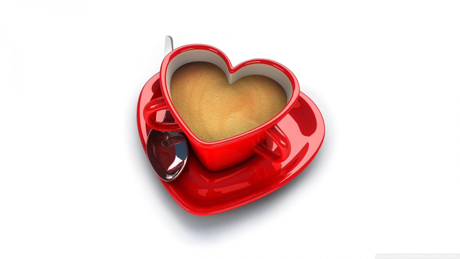 чашка кофе в форме сердечка, скачать фото, обои для рабочего стола