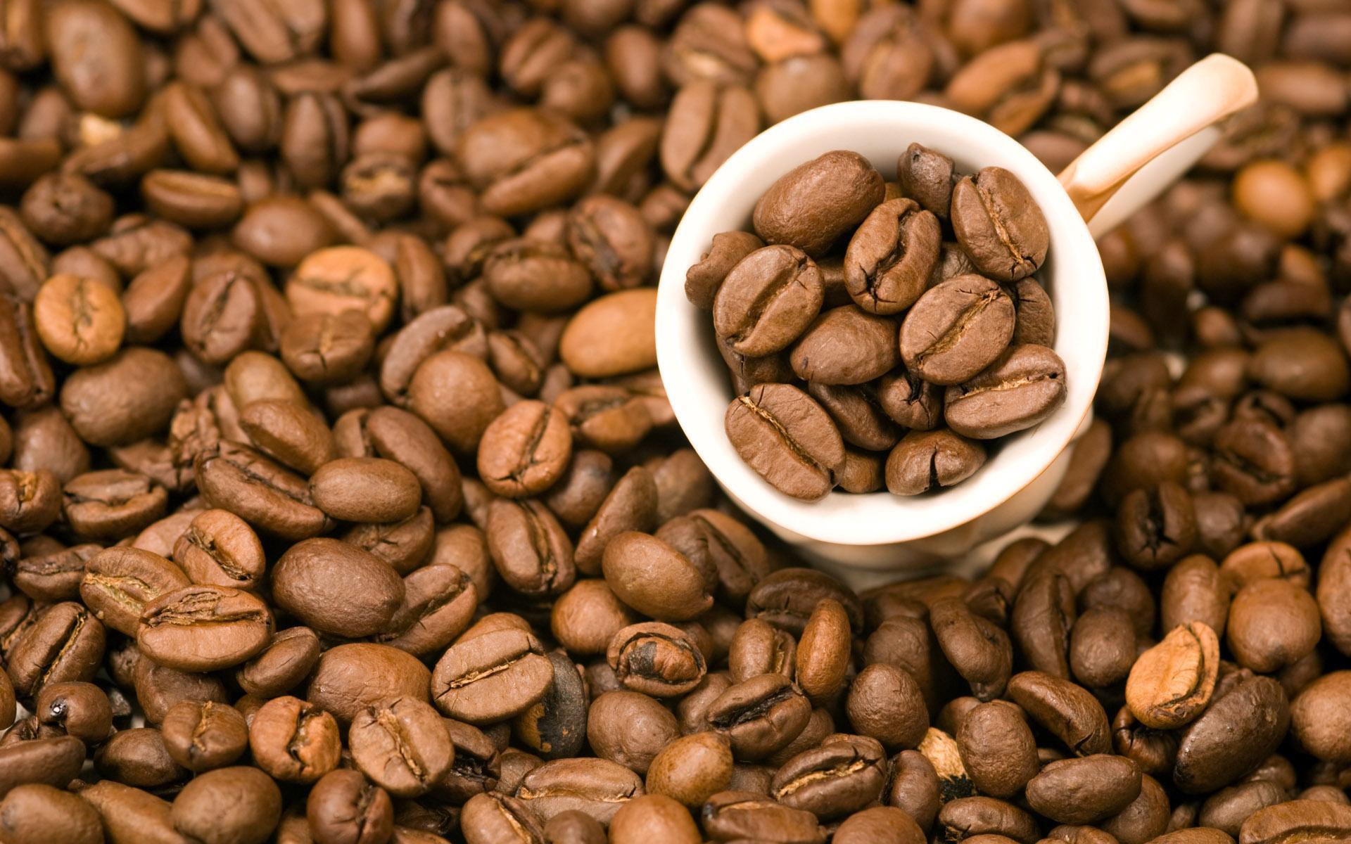 кофе, обои на рабочий стол, кофейные зерна в чашке