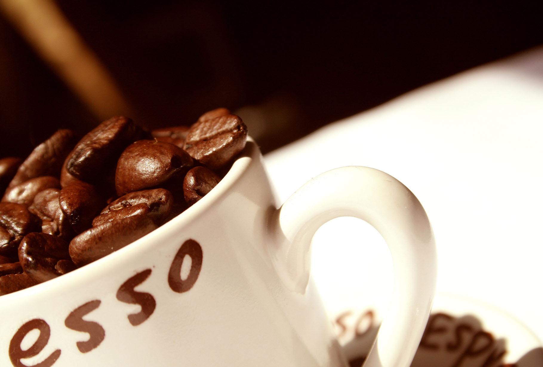 кофе экспрессо, кофейные зерна, скачать фото, обои для рабочего стола