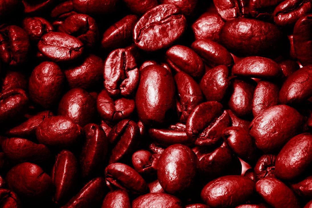 красные кофейные зерна, свежий кофе, скачать фото